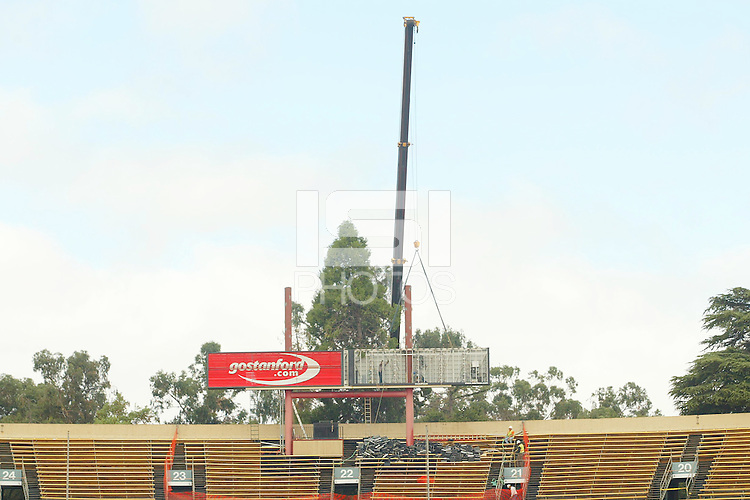31 July 2003: Construction of the new scoreboard at Stanford Stadium in Stanford, CA.