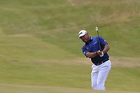 Lee Westwood (ENG) chips onto the 1st green during Saturday's Round 3 of the 2018 Dubai Duty Free Irish Open, held at Ballyliffin Golf Club, Ireland. 7th July 2018.<br /> Picture: Eoin Clarke | Golffile<br /> <br /> <br /> All photos usage must carry mandatory copyright credit (&copy; Golffile | Eoin Clarke)
