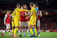 Hector Bellerín & Matteo Guendouzi of Arsenal approach Mergim Vojvoda of Standard Liege during the UEFA Europa League match between Arsenal and Standard Liege at the Emirates Stadium, London, England on 3 October 2019. Photo by Andrew Aleks.