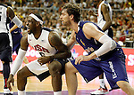 Spain's Pau Gasol (r) and USA's LeBron James during friendly match.July 24,2012. (ALTERPHOTOS/Acero)