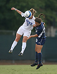 07 September 2007: Duke's Jane Alukonis (5) and Yale's Kate Macauley (20) challenge for a header. The Duke University Blue Devils defeated the Yale University Bulldogs 1-0 at Fetzer Field in Chapel Hill, North Carolina in an NCAA Division I Women's Soccer game, and part of the annual Nike Carolina Classic tournament.
