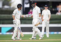 30th November 2019, Hamilton, New Zealand;  New Zealand's Daryl Mitchell on debut and BJ Watling (L) during play on day 2 of 2nd test match between New Zealand and England,  International Cricket at Seddon Park, Hamilton, New Zealand.  - Editorial Use