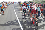 Pavel Kochetkov (RUS) Team Katusha Alpecin, Edward Ravasi (ITA) and Dan Martin (IRL) UAE Team Emirates during Stage 9 of the La Vuelta 2018, running 200.8km from Talavera de la Reina to La Covatilla, Spain. 2nd September 2018.<br /> Picture: Unipublic/Photogomezsport | Cyclefile<br /> <br /> <br /> All photos usage must carry mandatory copyright credit (&copy; Cyclefile | Unipublic/Photogomezsport)