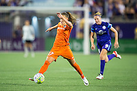 Orlando, Florida - Saturday, April 23, 2016: Houston Dash midfielder Andressa Machry (17) stretches for a ball during an NWSL match between Orlando Pride and Houston Dash at the Orlando Citrus Bowl.