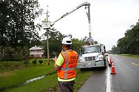 FPL crews restoring powering during Hurricane Dorian in St. Augustine Fla. on September 4, 2019
