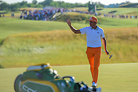 Rickie Fowler (USA) after sinking his putt on 18 during Sunday's round 4 of the 117th U.S. Open, at Erin Hills, Erin, Wisconsin. 6/18/2017.<br /> Picture: Golffile | Ken Murray<br /> <br /> <br /> All photo usage must carry mandatory copyright credit (&copy; Golffile | Ken Murray)