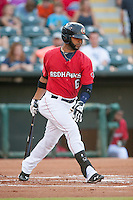 Oklahoma City RedHawks shortstop Jonathan Villar (6) after batting at the Chickasaw Bricktown Ballpark during the Pacific League game against the Colorado Springs Sky Sox on August 3, 2014 in Oklahoma City, Oklahoma.  The RedHawks defeated the Sky Sox 8-1.  (William Purnell/Four Seam Images)