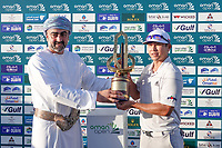 His Highness Sayyid Taimur bin Assad al Said presents the trophy to Kurt Kitayama (USA) during the final round of the Oman Open, Al Mouj Golf, Muscat, Sultanate of Oman. 03/03/2019<br /> Picture: Golffile | Phil Inglis<br /> <br /> <br /> All photo usage must carry mandatory copyright credit (&copy; Golffile | Phil Inglis)
