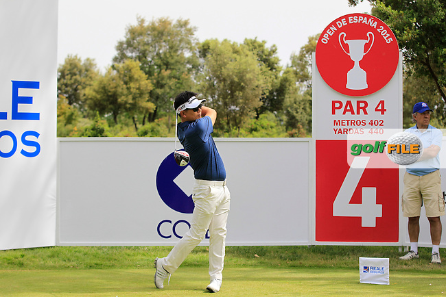 Y.E.Yang (KOR) on the 4th tee during the Pro-Am of the Open de Espana  in Club de Golf el Prat, Barcelona on Wednesday 13th May 2015.<br /> Picture:  Thos Caffrey / www.golffile.ie