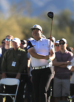 2nd February 2020, TPC Scottsdale, Arizona, USA;  Sungjae Im watches his drive on the third hole during the final round of the Waste Management Phoenix Open