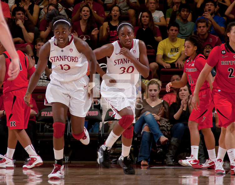STANFORD, CA - November 14, 2010: Chiney Ogwumike (13) and Nnemkadi Ogwumike (30) during a basketball game against Rutgers at Stanford University in Stanford, California. Stanford won 63-50.
