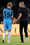 Manchester City Manager Pep Guardiola (r) instructs City striker Alex Zinchenko (l) during the match against Borussia Dortmund at the 2016 International Champions Cup China match at the Shenzhen Stadium on 28 July 2016 in Shenzhen, China. Photo by Victor Fraile / Power Sport Images