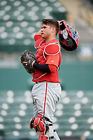 Philadelphia Phillies catcher Rafael Marchan (6) during a Florida Instructional League game against the Baltimore Orioles on October 4, 2018 at Ed Smith Stadium in Sarasota, Florida.  (Mike Janes/Four Seam Images)