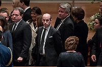 President Donald Trump's White House Senior Adviser Stephen Miller, center, and White House deputy chief of staff for communications Bill Shine, center right, arrives for a State Funeral for former President George H.W. Bush at the National Cathedral, Wednesday, Dec. 5, 2018,  in Washington.<br /> Credit: Andrew Harnik / Pool via CNP / MediaPunch