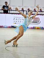CALI - COLOMBIA - 19 - 09 - 2015: Ma Paulina Perez, deportista de Colombia, durante la prueba de Solo Danza Obligatorias Mayores Damas, en el LX Campeonato Mundial de Patinaje Artistico, en el Velodromo Alcides Nieto Patiño de la ciudad de Cali. / Ma Paulina Perez, sportwoman of Colombia, during the Compulsory Solo Dance Senior Ladies  test, in the LX World Championships  Figure Skating, at the Alcides Nieto Patiño Velodrome in Cali City. Photo: VizzorImage / Luis Ramirez / Staff.