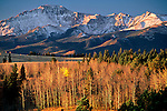 An autumn view of Pikes Peak's north face, near Colorado Springs, Colorado.