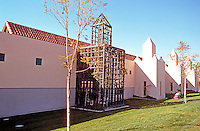 Michael Graves: San Juan Capistrano Library. East side of building, 3/4 view.  Photo '86.
