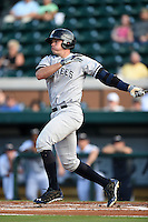 Tampa Yankees catcher Peter O'Brien (24) during a game against the Lakeland Flying Tigers on April 5, 2014 at Joker Marchant Stadium in Lakeland, Florida.  Lakeland defeated Tampa 3-0.  (Mike Janes/Four Seam Images)