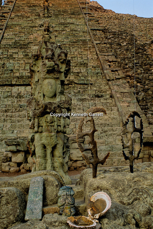 Maya; Copan; Honduras; Temple 26, Heiroglyphic Staircase, Flints, David Stuart found offering