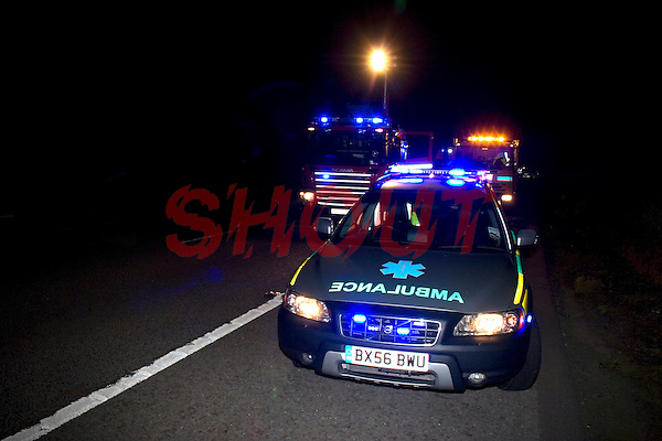 Firefighters and Paramedics attend a RTC on the Motorway Warwickshire UK. This image may only be used to portray the subject in a positive manner..©shoutpictures.com..john@shoutpictures.com