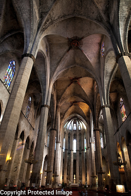 Nave of the Santa Maria del Mar Church in Barcelona, Catalonia, Spain