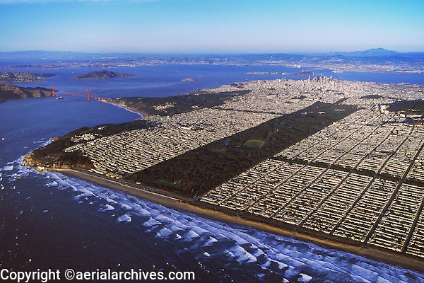 aerial photograph San Francisco's Ocean Beach, Golden Gate park, the Golden Gate bridge, Lands End,  the avenues, Richmond and sunset districts
