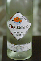 Tio Doro masthia spirit made from the sap of the mastic tree. Restaurant Berdema Ton Gefseon. Drama, Macedonia, Greece