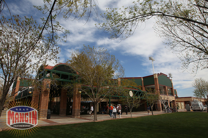 SCOTTSDALE, AZ -- Exterior scenic view of Scottsdale Stadium before the spring training game between the Arizona Diamondbacks and San Francisco Giants in Scottsdale, AZ on February 25, 2011. Photo by Brad Mangin.
