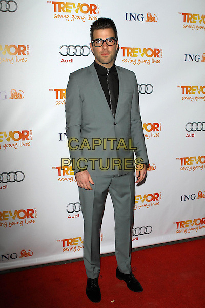 Zachary Quinto.Trevor Live at The Hollywood Palladium in Hollywood, California, USA..December 4th, 2011.full length grey gray blue suit glasses black shirt silver tie .CAP/ADM/KB.©Kevan Brooks/AdMedia/Capital Pictures.