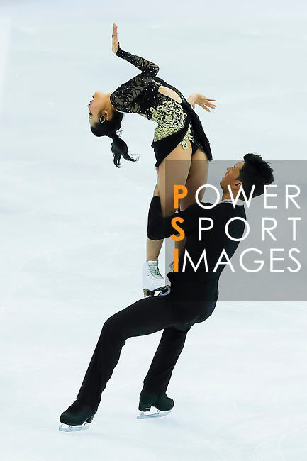 TAIPEI, TAIWAN - JANUARY 23:  Emi Hirai and Marien de la Asuncion of Japan perform their routine during the Four Continents Figure Skating Championships on January 23, 2014 in Taipei, Taiwan.  Photo by Victor Fraile / Power Sport Images *** Local Caption *** Emi Hirai; Marien de la Asuncion