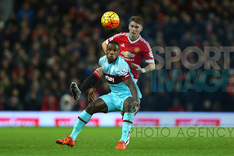 Guillermo Varela of Manchester United battles West Ham's Michail Antonio - Manchester United vs West Ham United - Barclay's Premier League - Old Trafford - Manchester - 05/12/2015 Pic Philip Oldham/SportImage