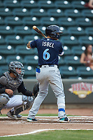 Kyle Isbel (6) of the Wilmington Blue Rocks at bat against the Winston-Salem Warthogs at BB&T Ballpark on July 17, 2019 in Winston-Salem, North Carolina. The Blue Rocks defeated the Warthogs 4-1. (Brian Westerholt/Four Seam Images)