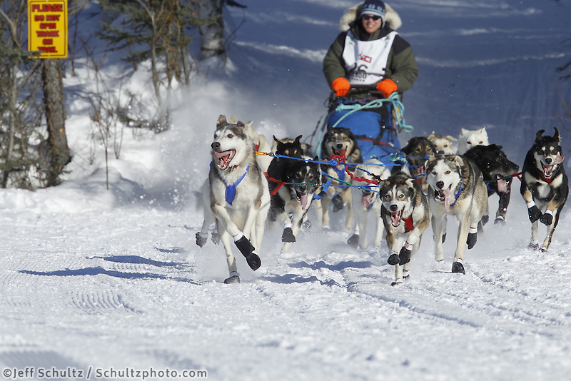 Ellen Halverson 's team run on Long Lake in Willow, Alaska duirng the re-start of the 2011 Iditarod.