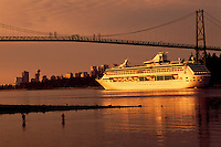 Cruise Ship passing Two Fishermen and Lions Gate Bridge, upon arriving in Vancouver Harbour, British Columbia, Canada