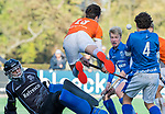 BLOEMENDAAL  - Casper van der Veen stuit op kampong keeper Storm van Dalen,  , competitiewedstrijd junioren  landelijk  Bloemendaal JB1-Kampong JB1 (4-3) . COPYRIGHT KOEN SUYK