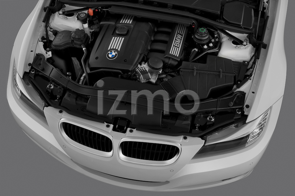 High angle engine detail of a  2009 bmw 3 series wagon 328.