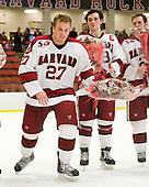 Michael Biega (Harvard - 27) (Del Mauro, Huxley) - The Harvard University Crimson defeated the St. Lawrence University Saints 4-3 on senior night Saturday, February 26, 2011, at Bright Hockey Center in Cambridge, Massachusetts.