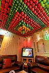 Israel, Holon. A Samaritan indoor Succah, the ceiling is decorated with fresh fruit<br />