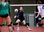 November 22, 2019; Rapid City, SD, USA; Jamaica Calkhaven #17 of Sioux Falls Christian receives a Miller serve at the 2019 South Dakota State Volleyball Championships at the Rushmore Plaza Civic Center in Rapid City, S.D. (Richard Carlson/Inertia)