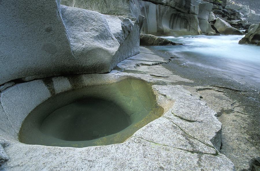 Pothole in rock below Eagle Falls, Skykomish River, Washington