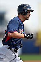 Boston Red Sox outfielder Grady Sizemore (38) runs the bases after hitting a home run during a spring training game against the Tampa Bay Rays on March 25, 2014 at Charlotte Sports Park in Port Charlotte, Florida.  Boston defeated Tampa Bay 4-2.  (Mike Janes/Four Seam Images)