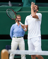 Marin Cilic (CRO) shows his frustration during the Mens Final match against Roger Federer (SUI), Wimbledon Championships 2017, Day 13, Mens Final, All England Lawn Tennis & Croquet Club, Church Rd, London, United Kingdom - 16th July 2017