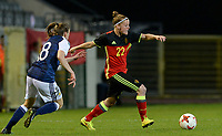 20170411 - LEUVEN ,  BELGIUM : Belgian Laura Deloose (22) pictured going past Scottish Lizzie Arnot (left) during the friendly female soccer game between the Belgian Red Flames and Scotland , a friendly game in the preparation for the European Championship in The Netherlands 2017  , Tuesday 11 th April 2017 at Stadion Den Dreef  in Leuven , Belgium. PHOTO SPORTPIX.BE | DAVID CATRY