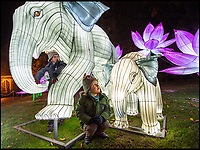BNPS.co.uk (01202 558833)<br /> Pic: PhilYeomans/BNPS<br /> <br /> Sebastian and Reuben Harrison check out the Indian Elephants. <br /> <br /> As the clocks go back the lights come on at Longleat House in Wiltshire - as the hugely popular Festival of Light switches on.<br /> <br /> The English country estate is transformed with 800 illuminated lanterns to take visitors on a magical journey around the world and under the sea.<br /> <br /> Staff at the popular park attraction say this is their most ambitious event yet, with a team of highly-skilled Chinese artists spending more than 7,000 hours to complete the different stories for A Fantastic Voyage.<br /> <br /> The displays have used more than 25 miles of silk and LED lighting strips, as well as more than 60,000 light bulbs.