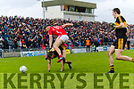 David Clifford, East Kerry in action against Michael Potts, Dr Crokes  during the Kerry County Senior Club Football Championship Final match between East Kerry and Dr. Crokes at Austin Stack Park in Tralee, Kerry.