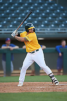 AZL Athletics Gold Gio Dingcong (14) at bat during an Arizona League game against the AZL Rangers on July 15, 2019 at Hohokam Stadium in Mesa, Arizona. The AZL Athletics Gold defeated the AZL Athletics Gold 9-8 in 11 innings. (Zachary Lucy/Four Seam Images)