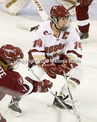 Katelyn Kurth (BC - 14) - The Boston College Eagles defeated the visiting Harvard University Crimson 6-2 on Sunday, December 5, 2010, at Conte Forum in Chestnut Hill, Massachusetts.
