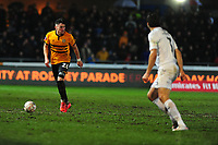 Regan Poole of Newport County in action during the FA Cup Fourth Round Replay match between Newport County and Middlesbrough at Rodney Parade in Newport, Wales, UK. Tuesday 05 February 2019
