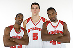 MADISON, WI - OCTOBER 24: Seniors Kammron Taylor (left to right), Jason Chappell, and Alando Tucker pose for a photo at the Kohl Center on October 24, 2006 in Madison, Wisconsin. (Photo by David Stluka)