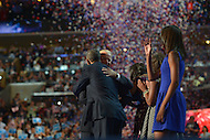 September 6, 2012  (Charlotte, North Carolina) President Barack Obama and Vice President Joseph Biden hug on the last night of the 2012 Democratic National Convention In Charlotte.   (Photo by Don Baxter/Media Images International)